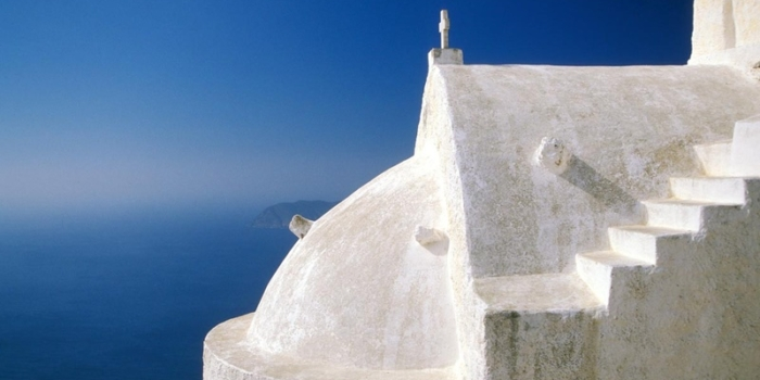 Cyclades, Anafi Panagia Kalamiotissa church, sea