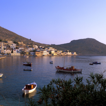 Halki Island of the Dodecanese Chora, fishing boats