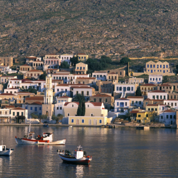 Halki Island of the Dodecanese Chora, harbor, fishing boats