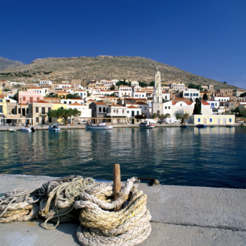 Halki Island of the Dodecanese Chora, harbor, anchor rope