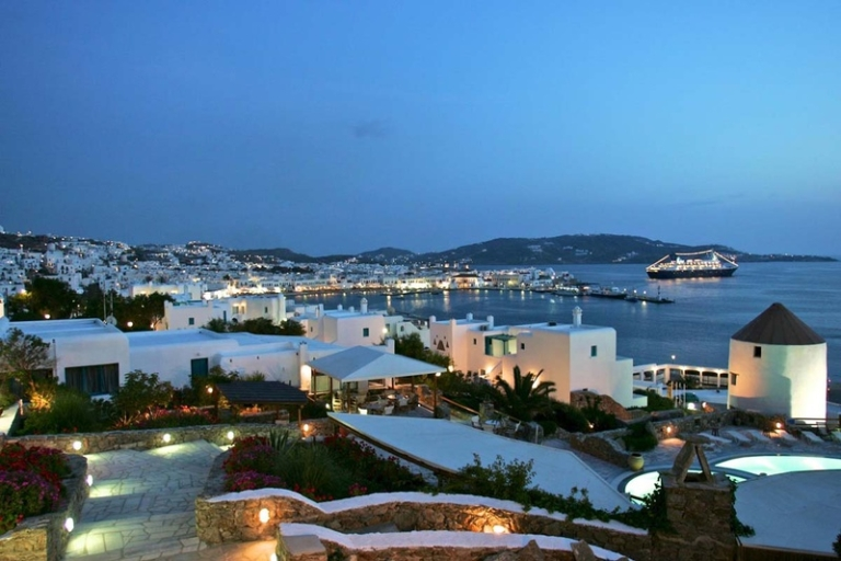 Chora of Mykonos at night