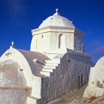 Cyclades, Anafi Panagia Kalamiotissa church, sea