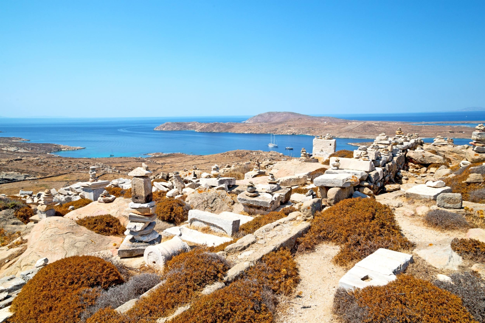 The historical acropolis of Delos and old ruin site