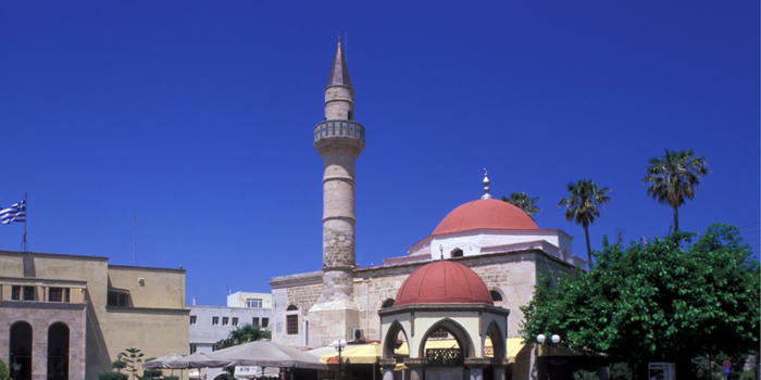 Kos Town, The Deffender Mosque at Eleftherias Square.