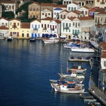 View of the Port, Houses, BoatsKastellorizo, Dodecanese, Greece, ©Clairy Moustafellou /IML Image Group