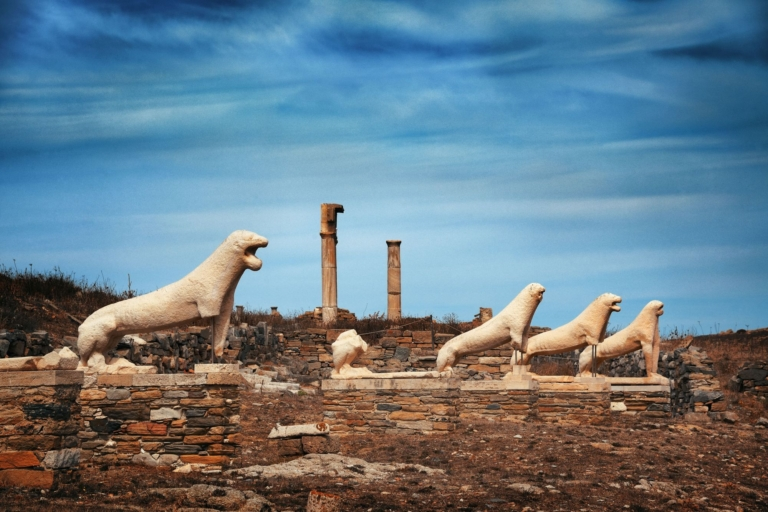 Terrace of the Lions in Historical Ruins in Delos Island