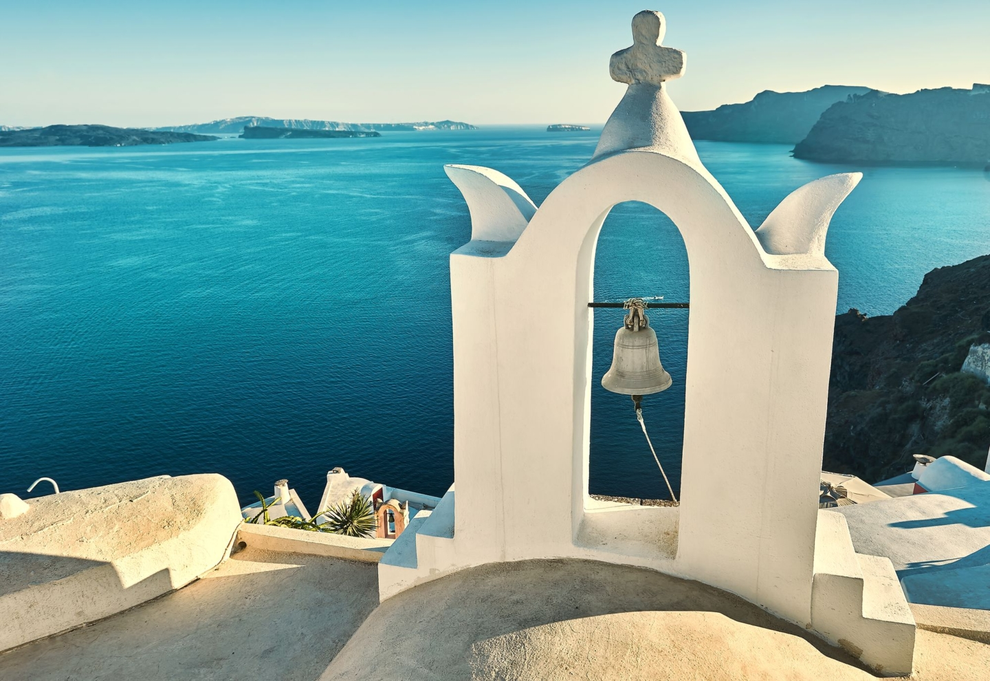 Seaview over the white terrace of Santorini, Cyclades,Greece